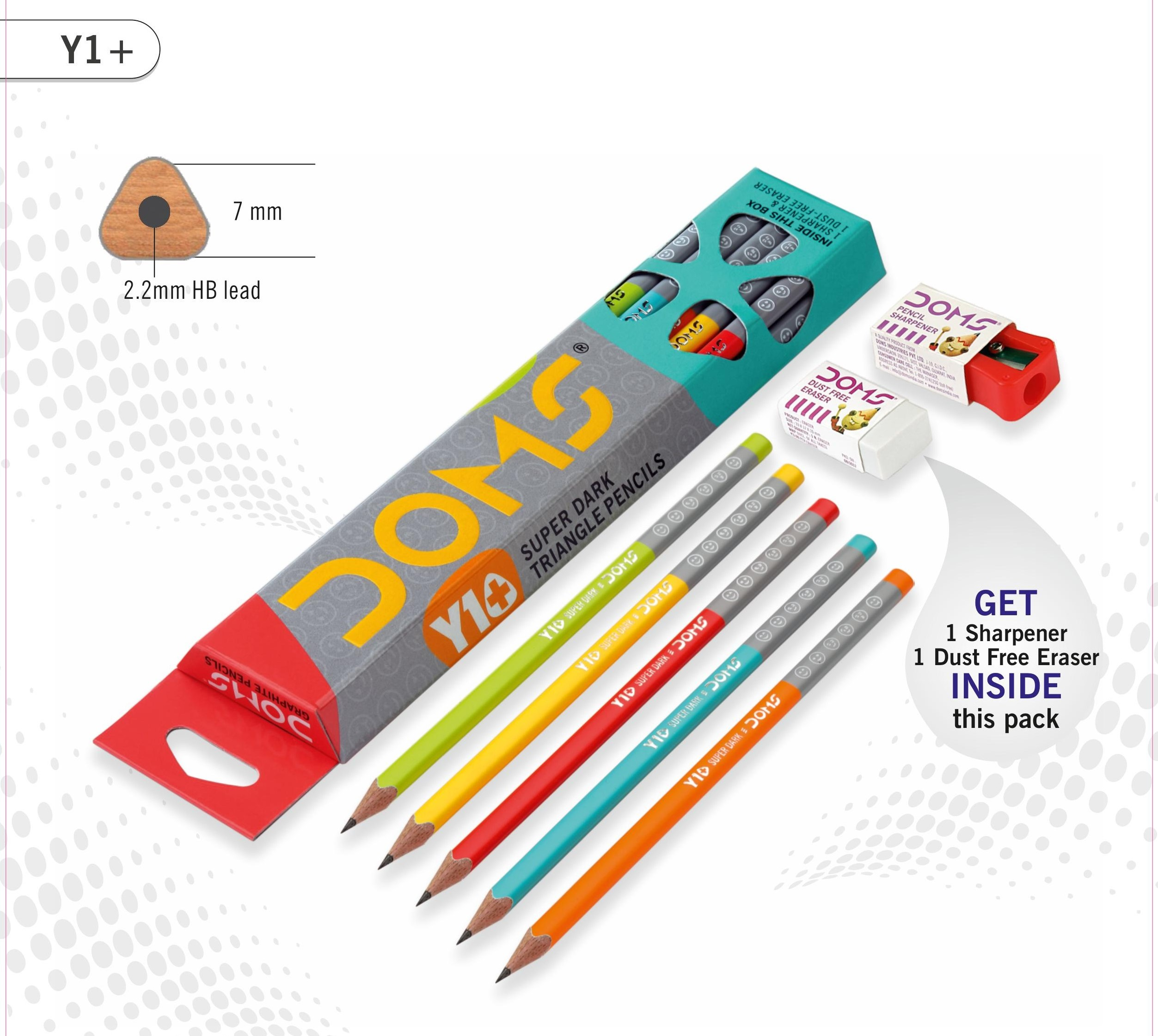 7151 - Doms Y1+ Super Dark Graphite Triangle Pencils ...